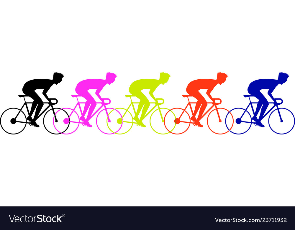 Bicycle race peoples colorful