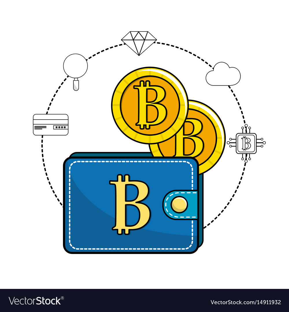 Bitcoin symbon in the wallet and icons around vector image