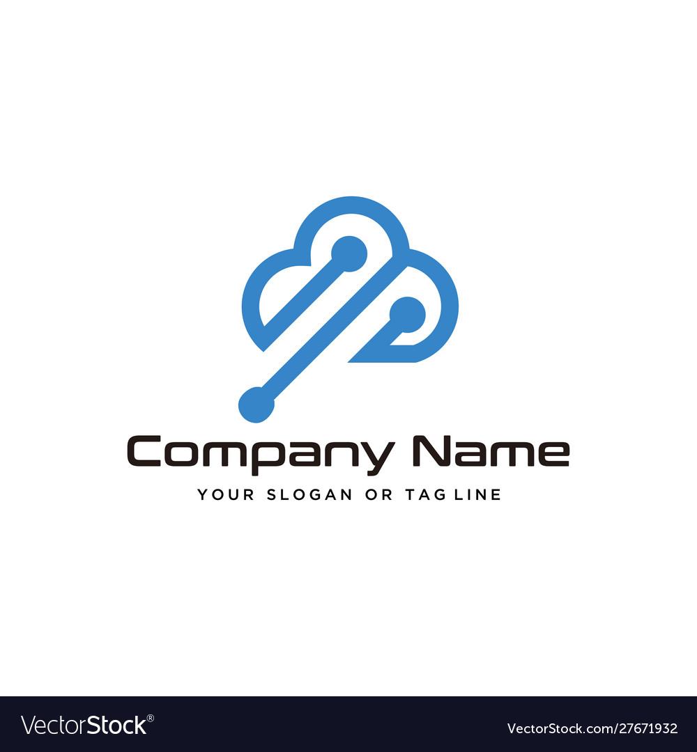 Cloud technology logo design modern template vector image