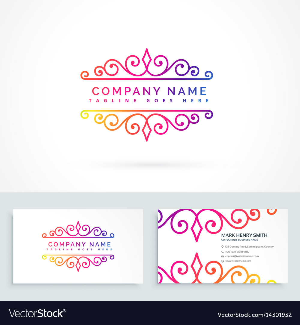 Floral ornament logo design with business card vector image colourmoves