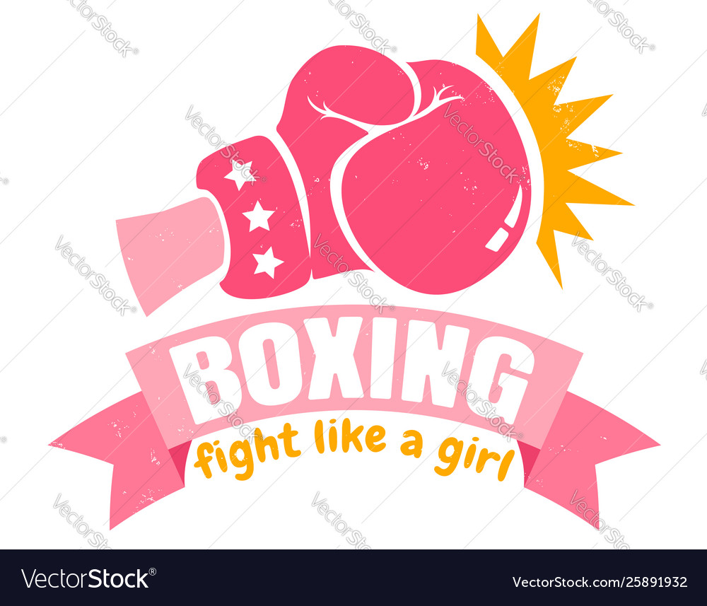 girl boxing with pink glove and ribbon royalty free vector  vectorstock