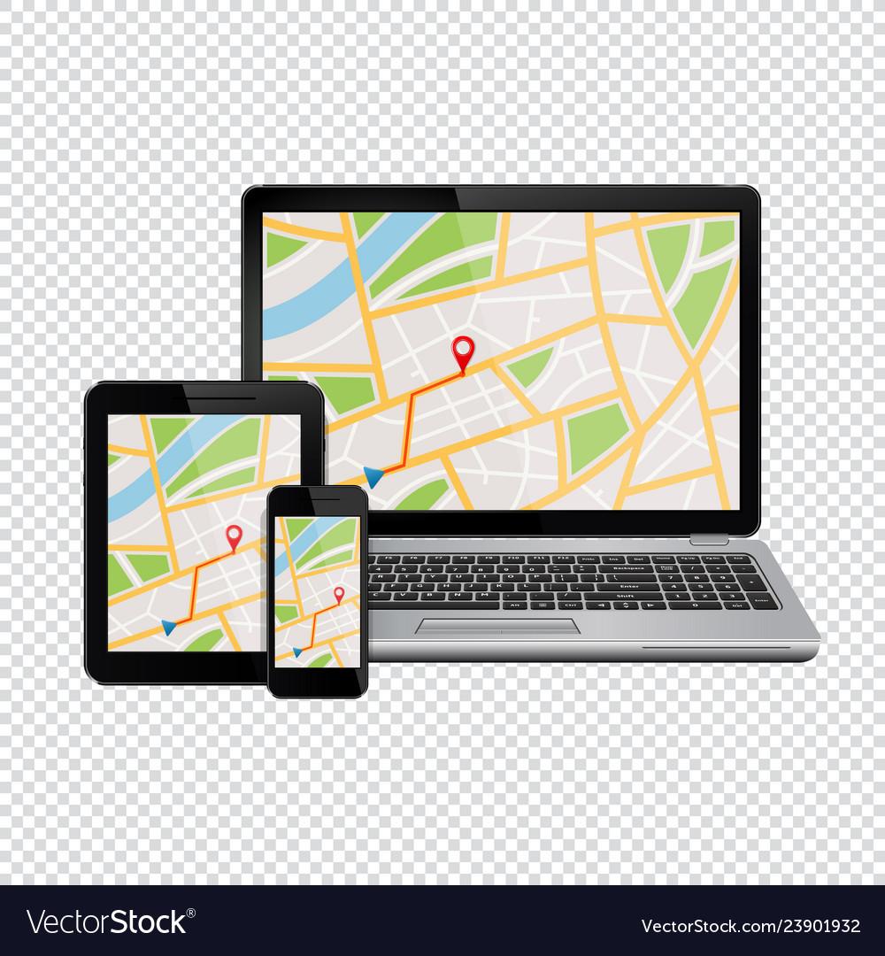 Gps navigation map on display of modern digital