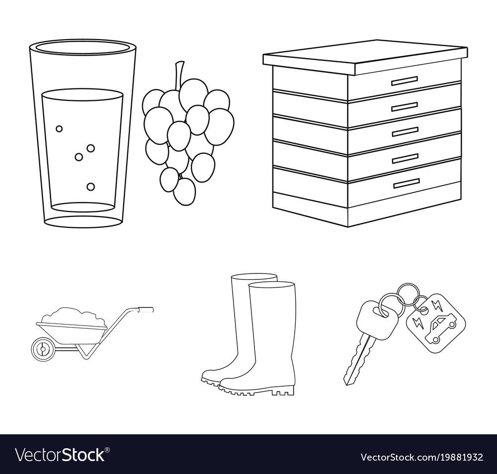 Hive grapes boots wheelbarrowfarm set vector image