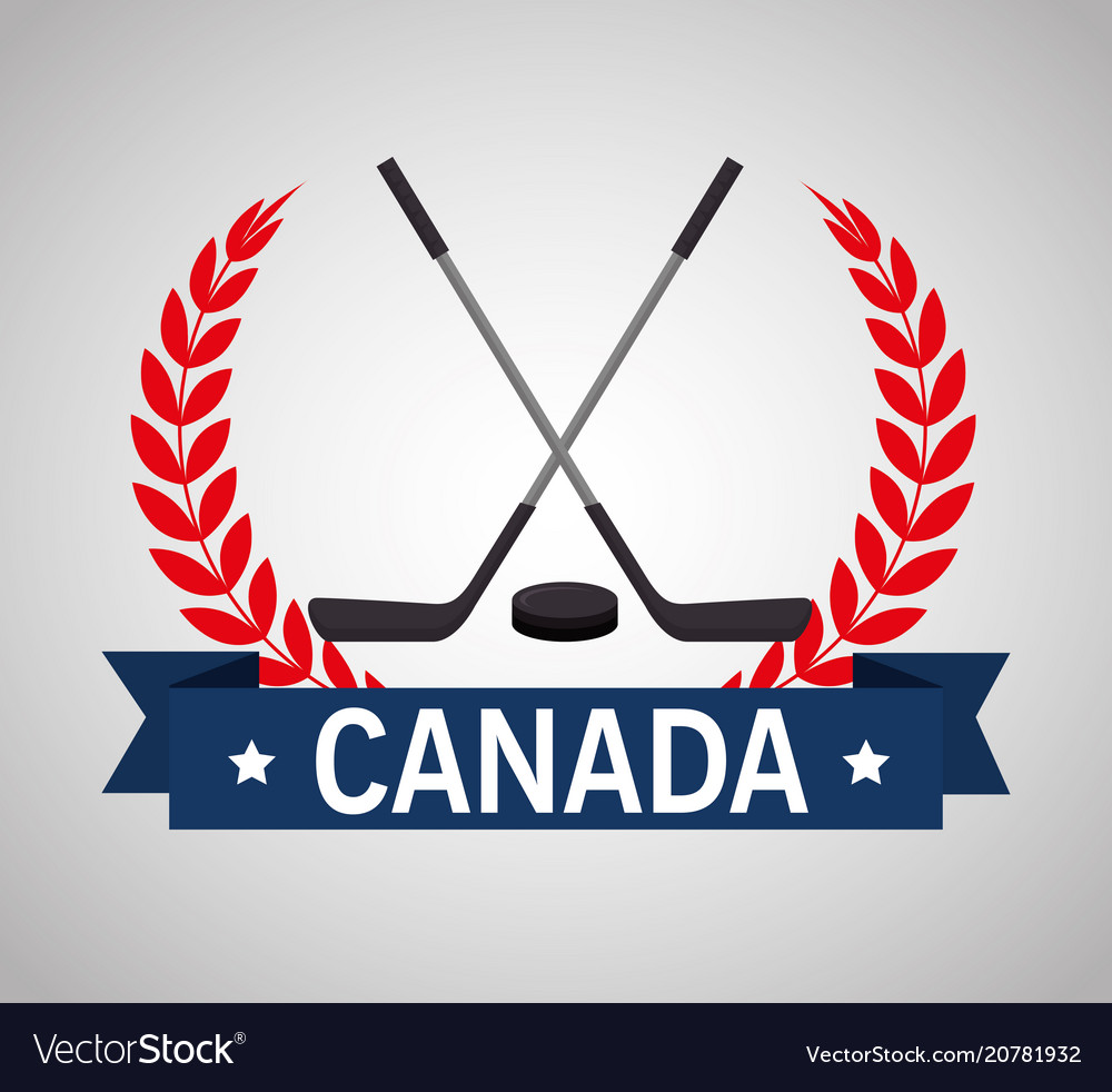 Hockey sticks crossed canadian emblem