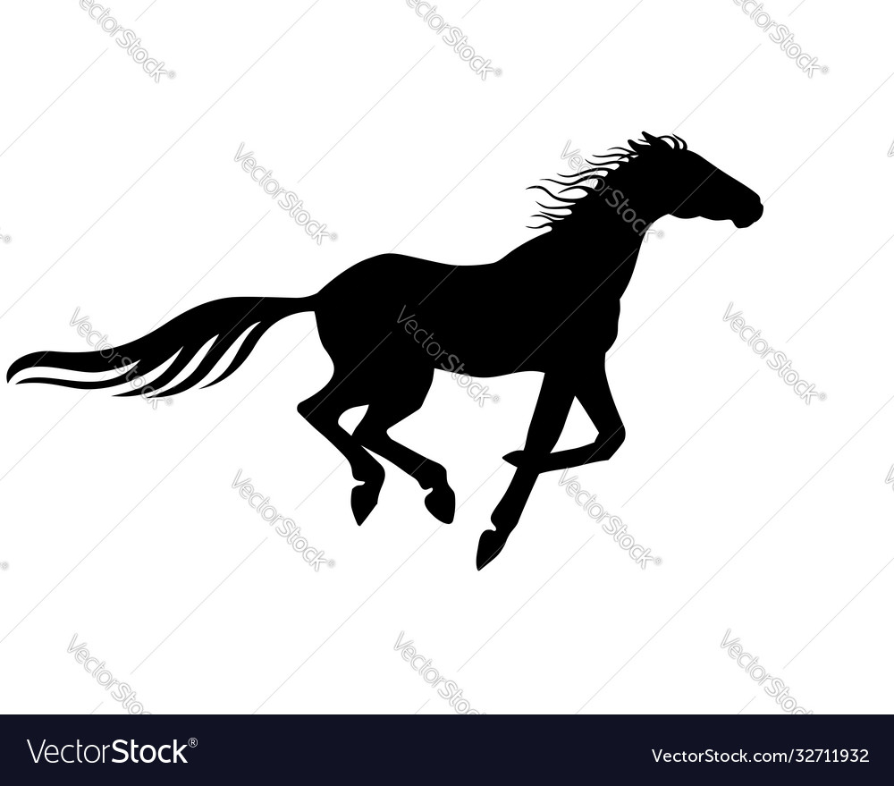 Horse black silhouette a galloping hors
