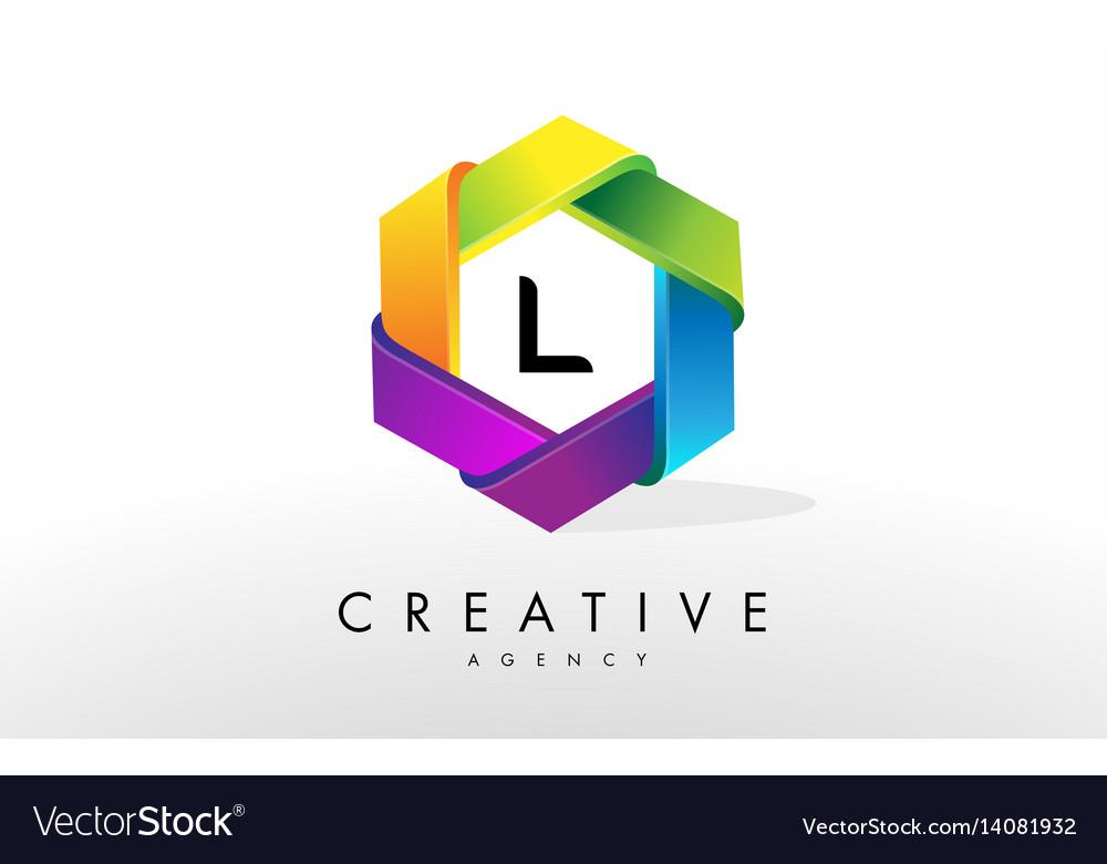 L letter logo corporate hexagon design