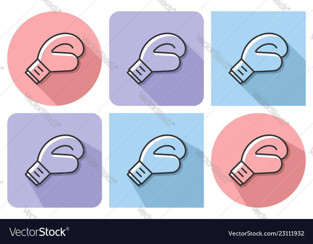 Outlined icon of boxing glove with parallel and