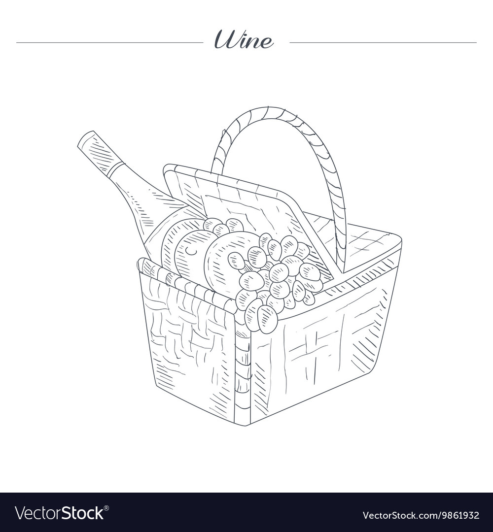 Picnic Basket With Wine Hand Drawn Realistic vector image