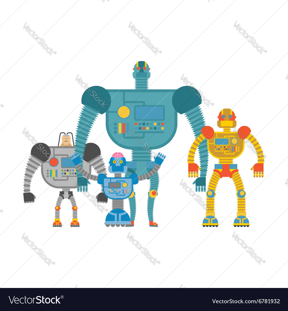 Set space robots Cyborgs invaders Humanoid vector image