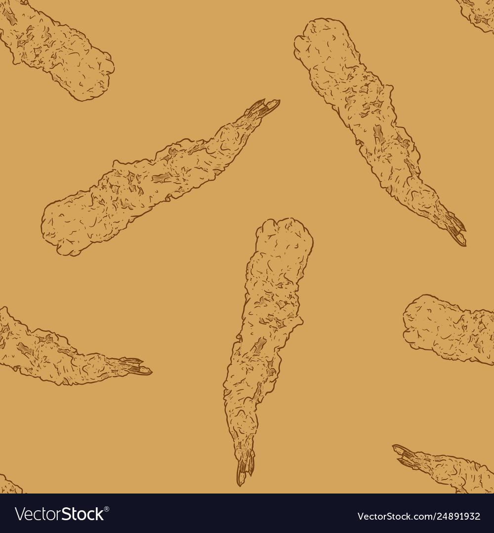 Shrimp tempura seamless pattern