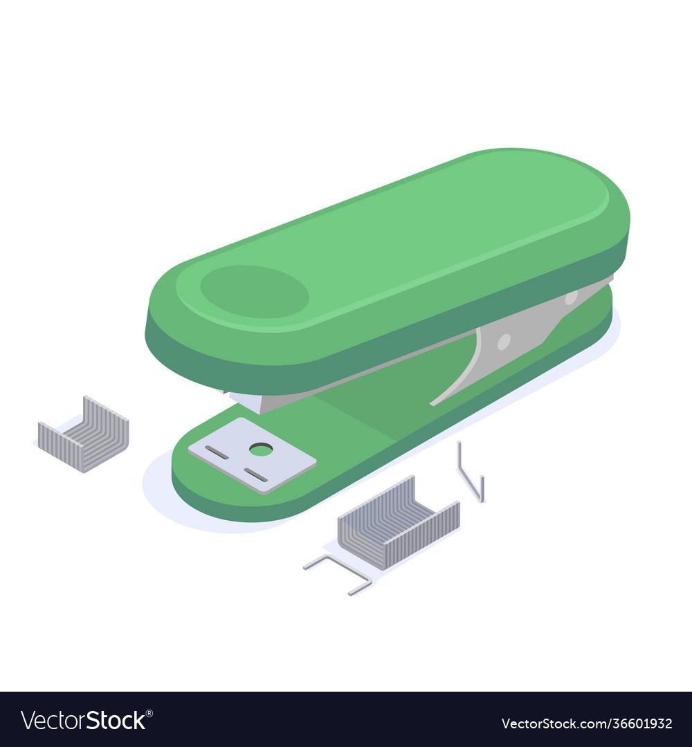 Stationery green stapler with staples for stapling
