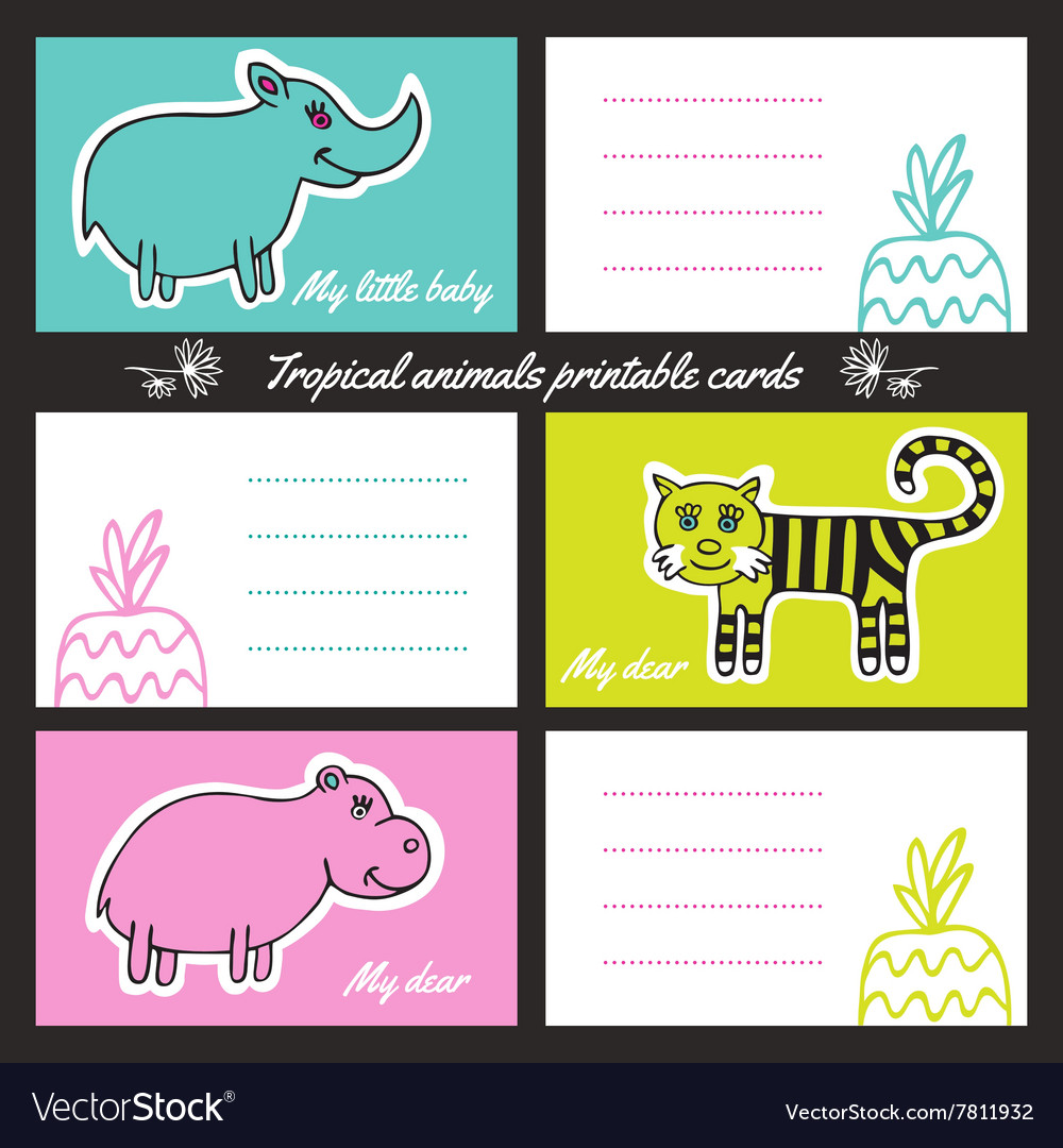 picture about Animal Cards Printable named Tropic pets printable playing cards