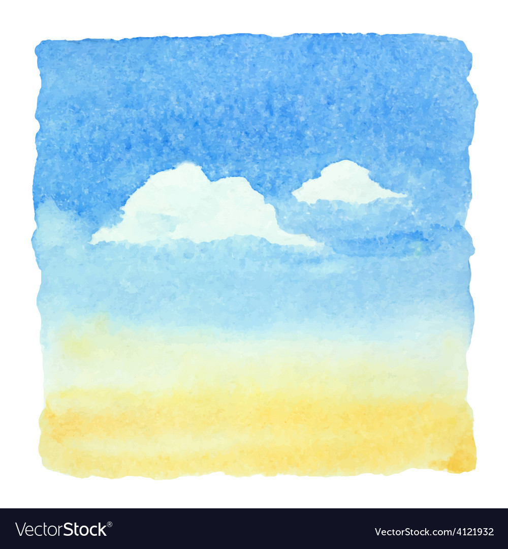 Watercolor blue sky and clouds background