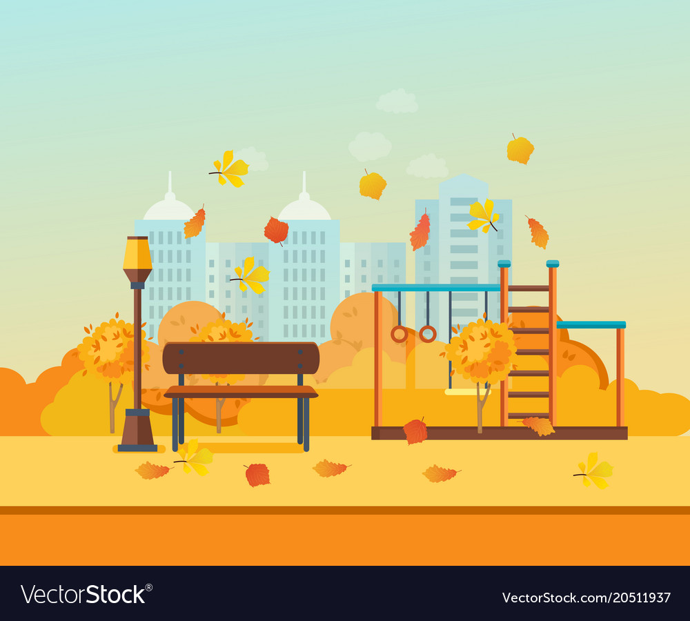 Autumn kids playground entertainment in form of vector image