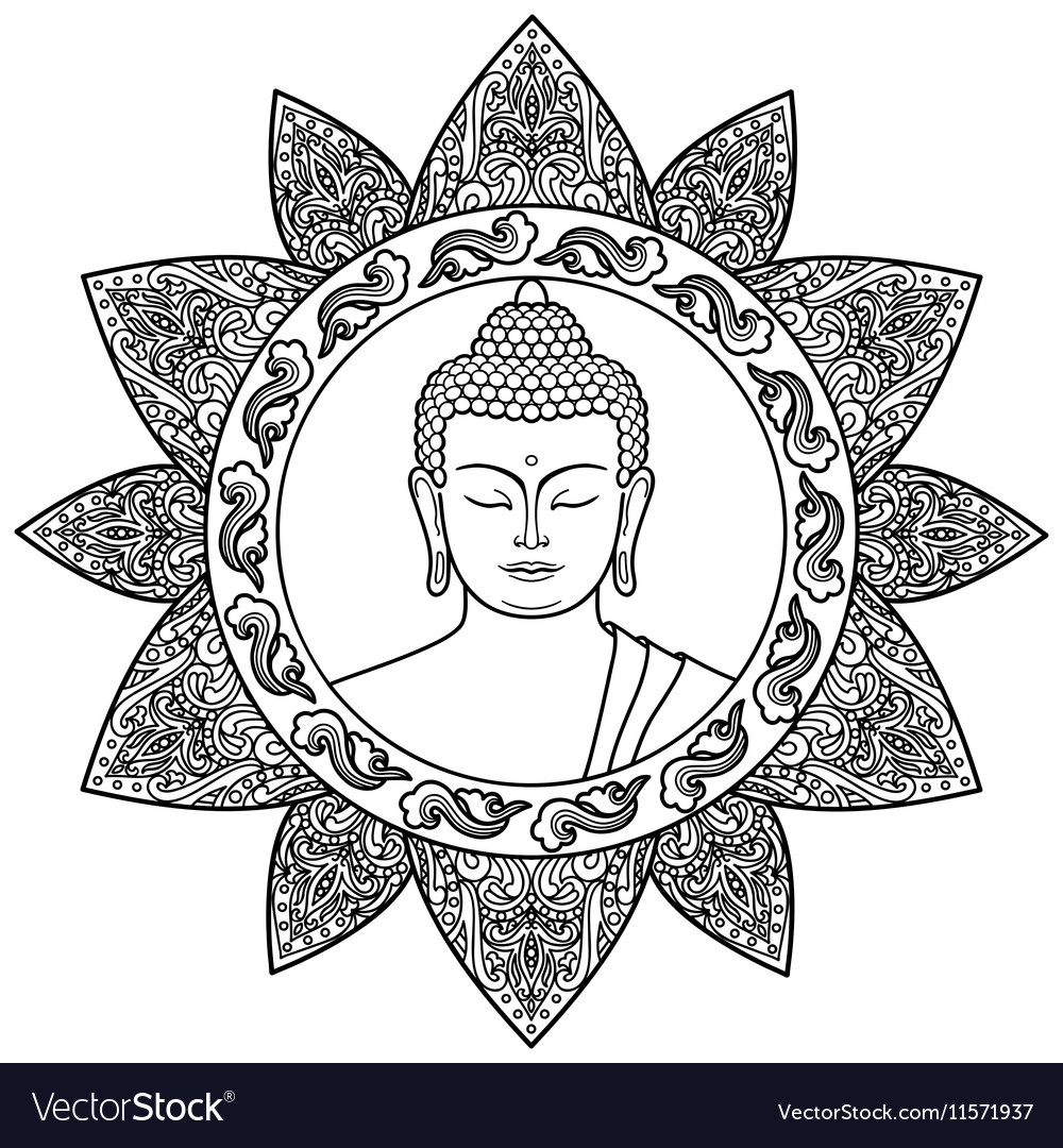Buddha with Floral Decor vector image