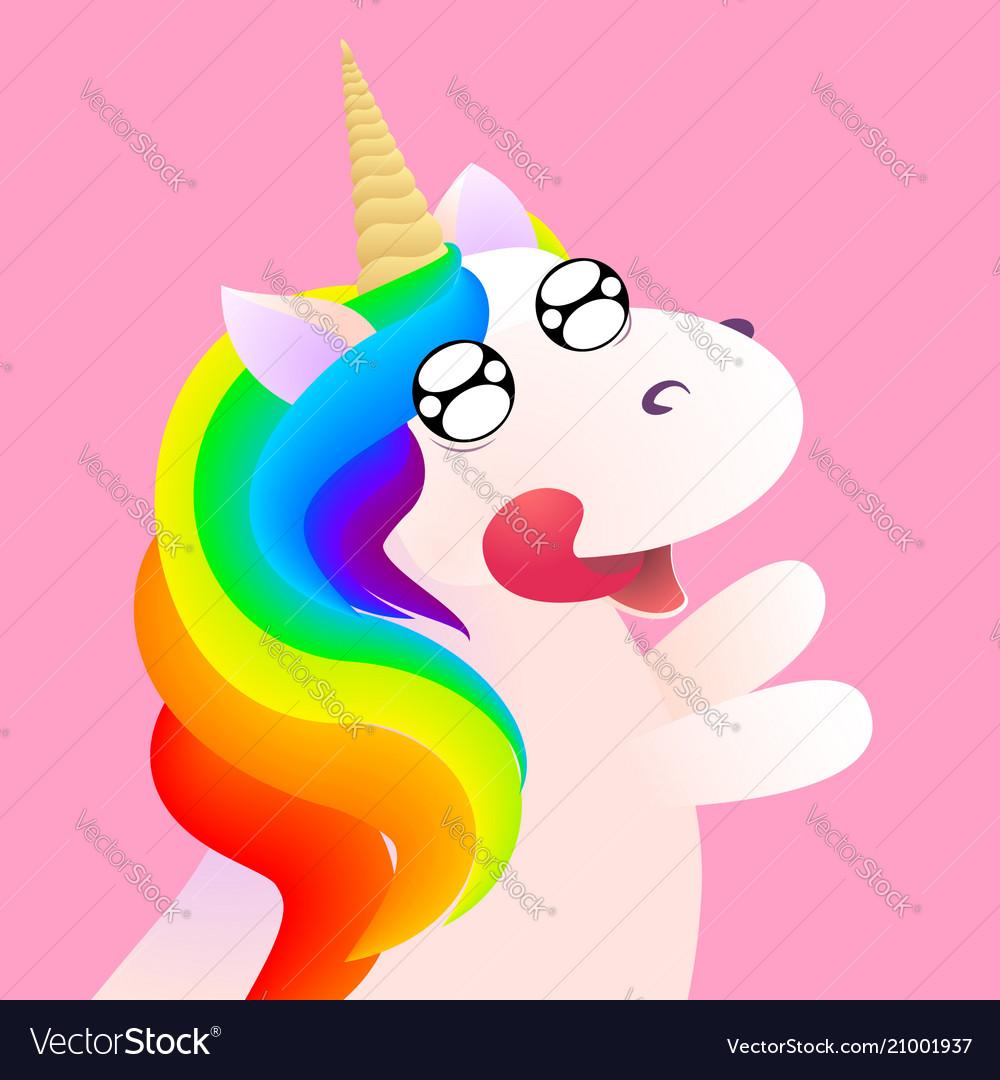 Cute comic unicorn emotion anticipation