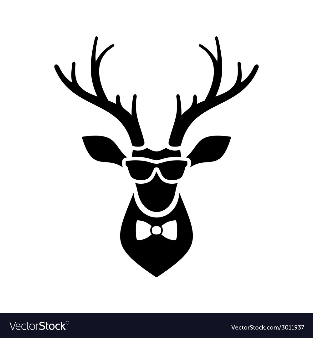 Deer Head Icon with Hipster Sunglasses and Bow Tie