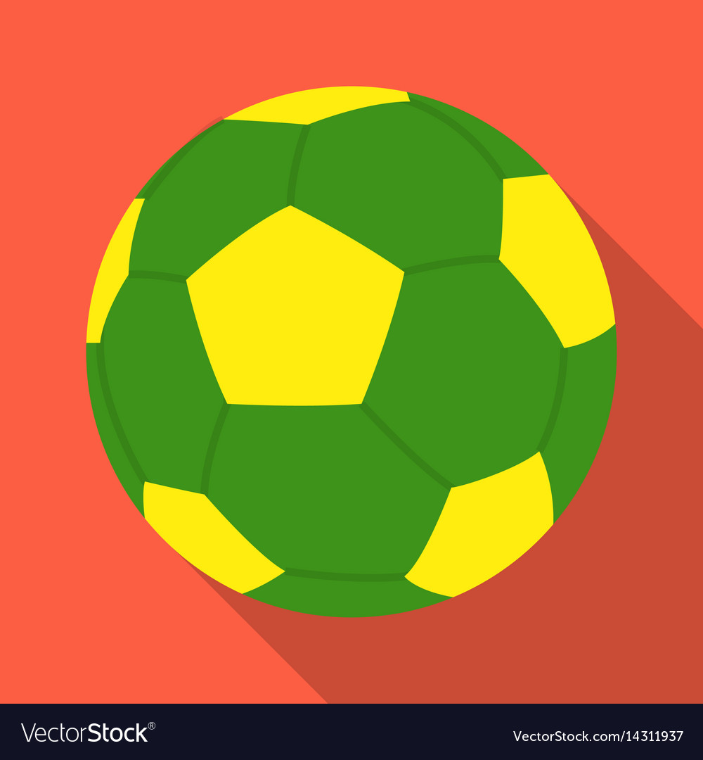 Green soccer ball icon in flate style isolated on