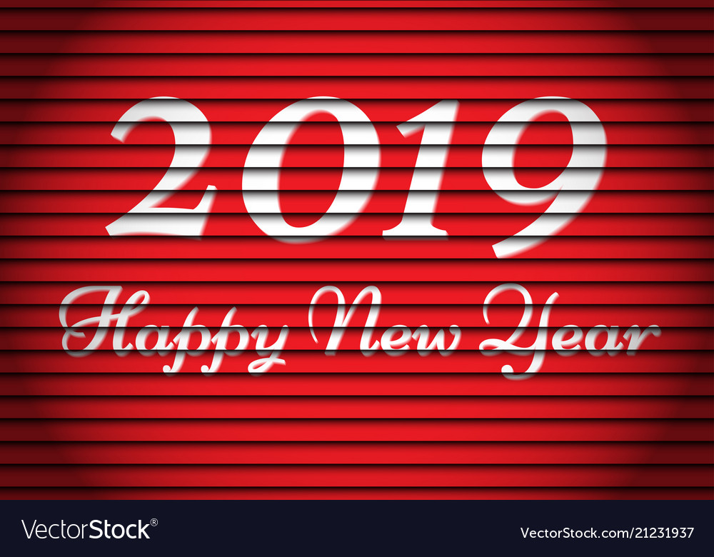 Happy new year 2019 white number and text on red