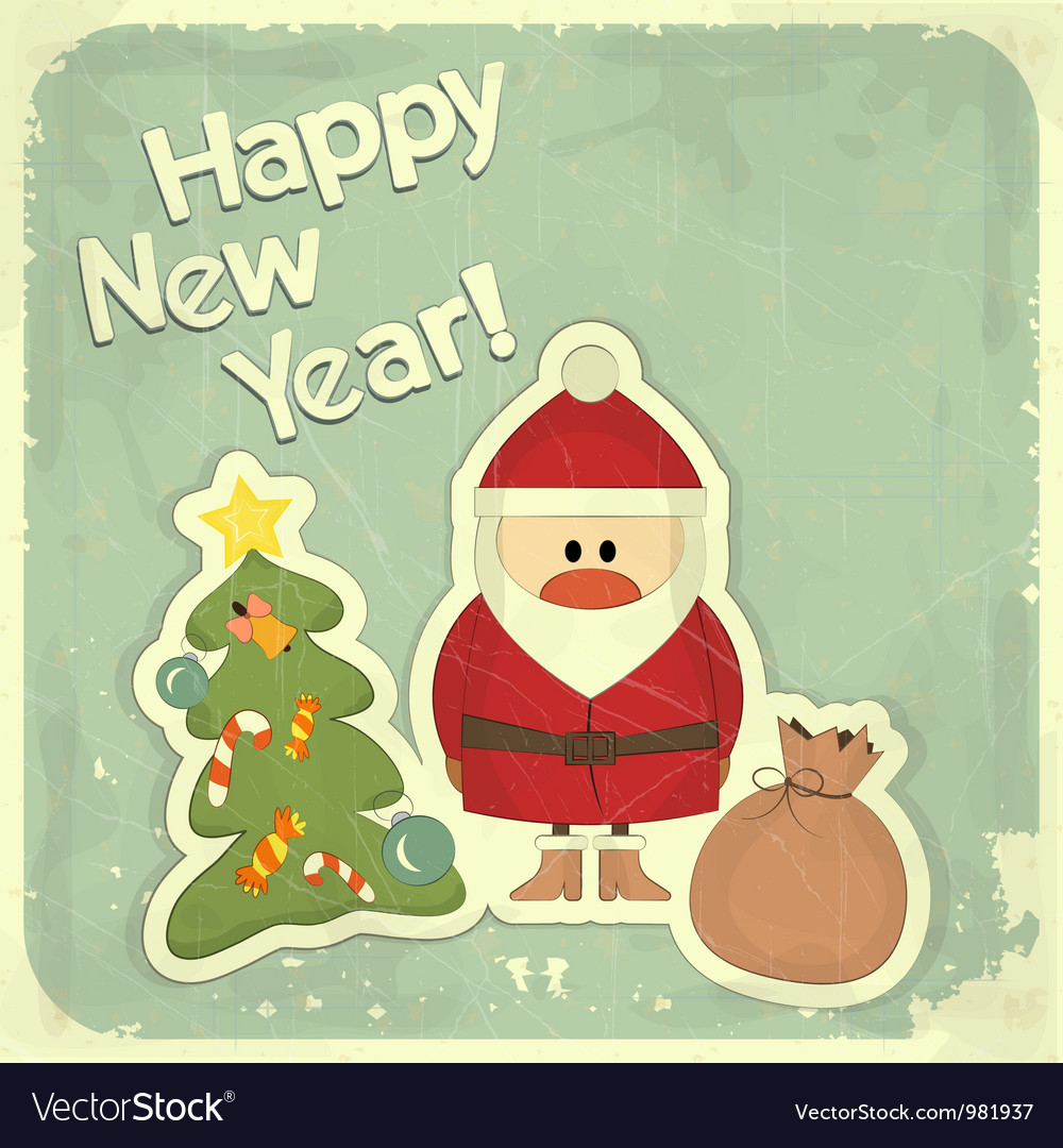 New Year postcard in Retro style