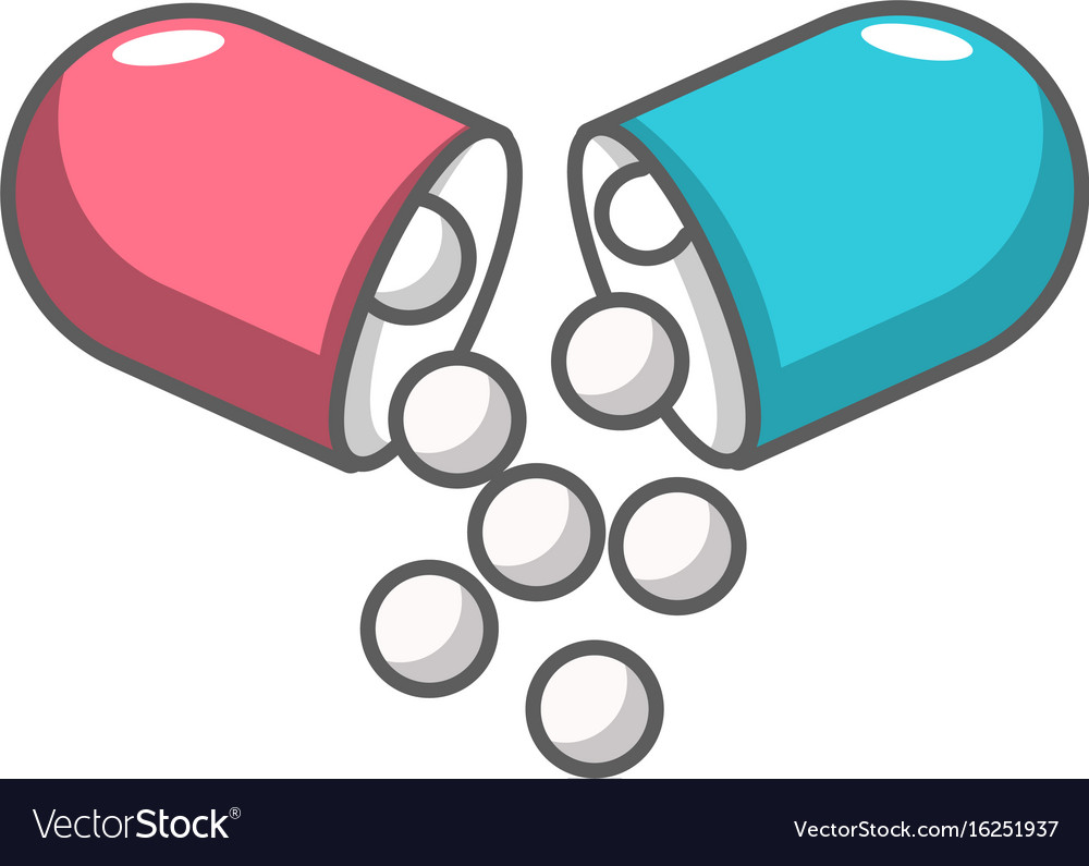 open capsule pill icon cartoon style royalty free vector rh vectorstock com vector pill review vector pill bottle
