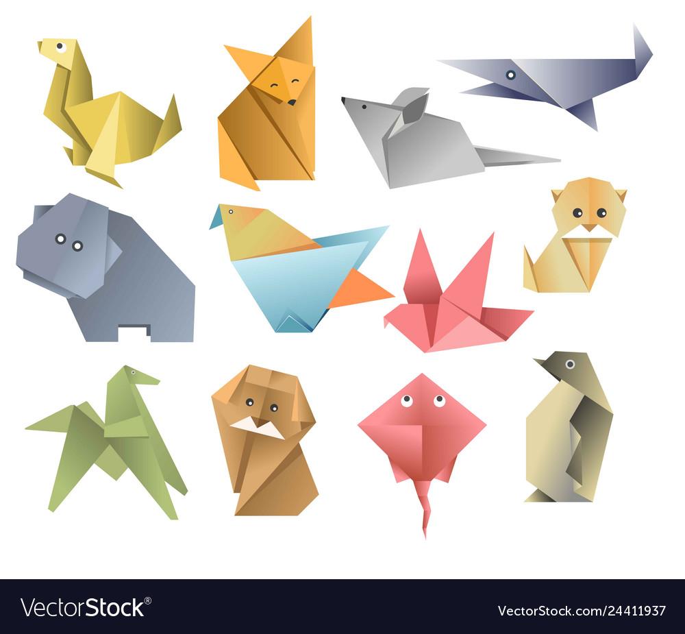 Origami paper animals asian art or hobfolded
