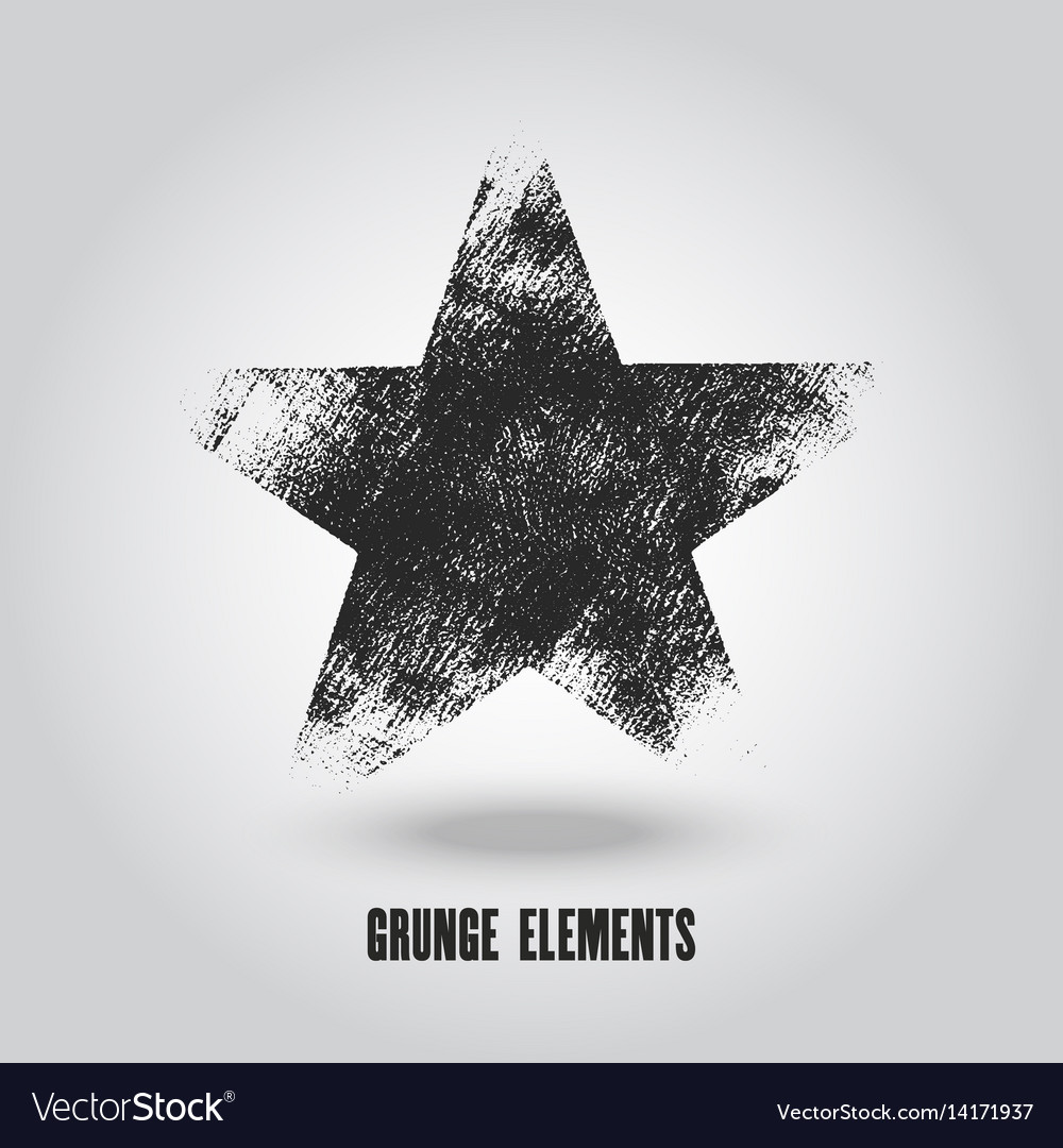 Red grunge star logo on a white background vector image