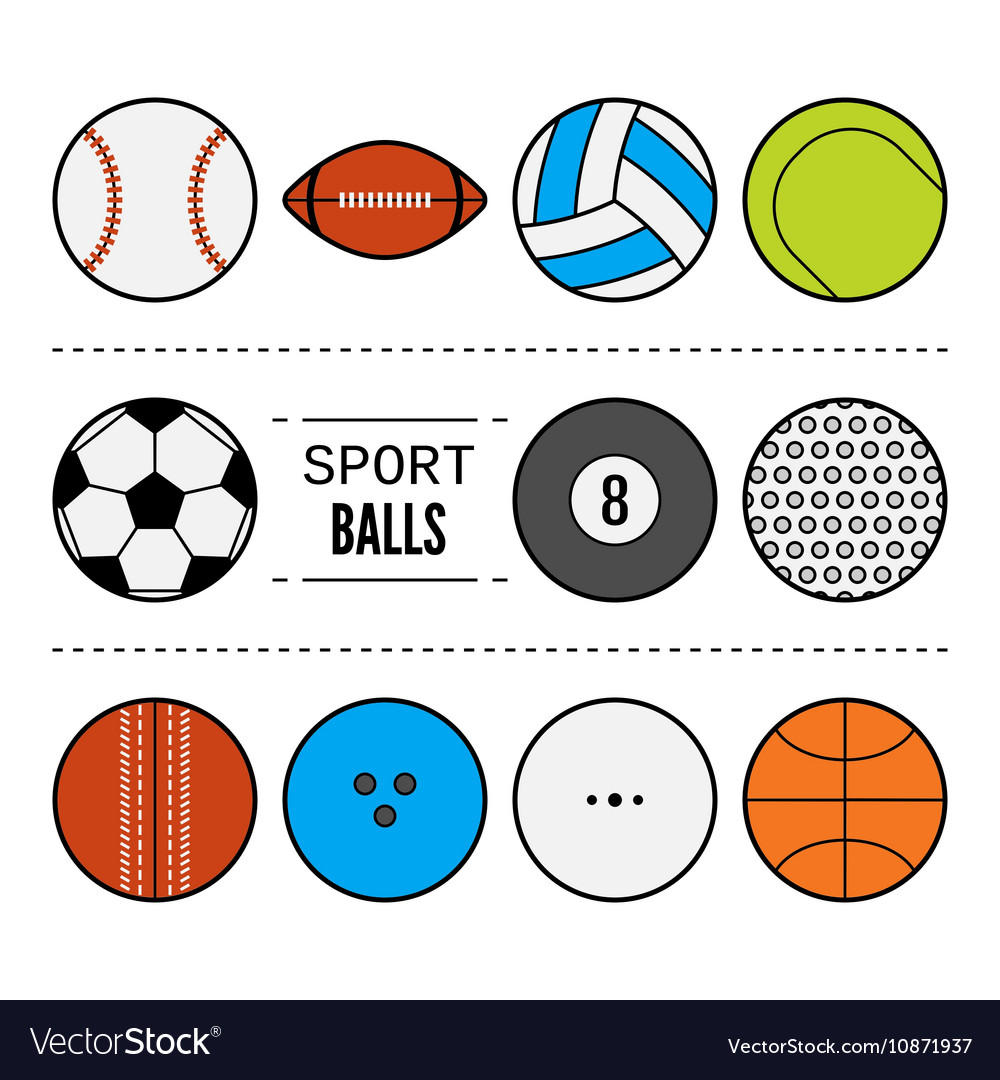 Set of sport balls for games Flat icons sports