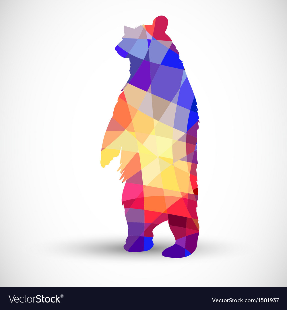 Silhouette a bear of geometric shapes