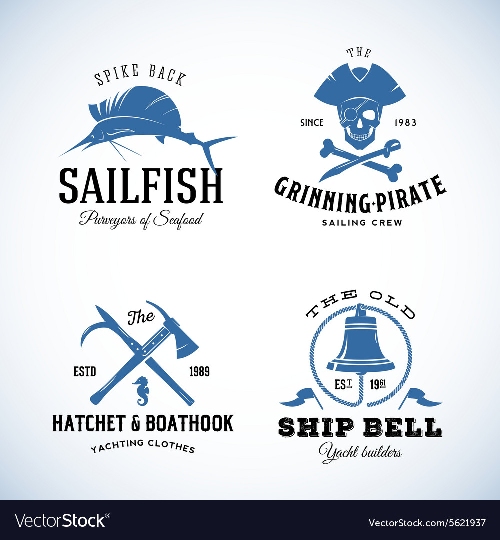 Vintage Nautical Sea Logos or Labels with
