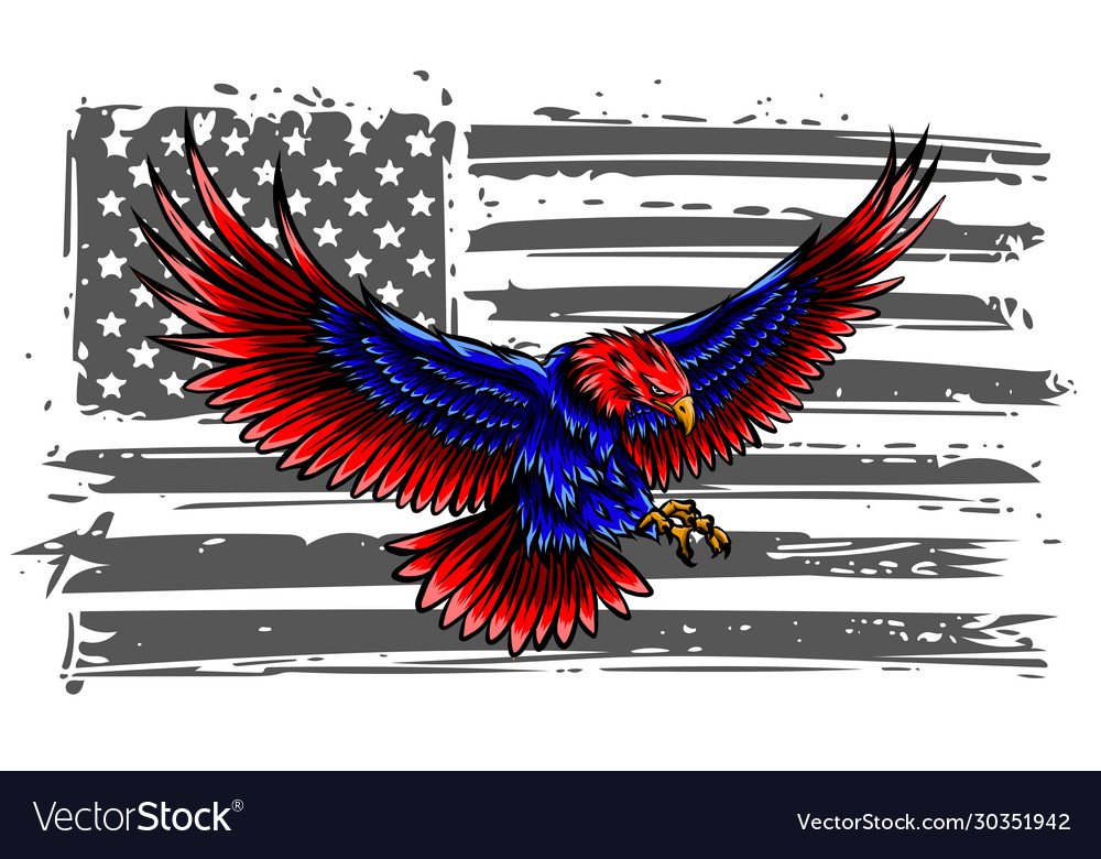 Bald eagle attacking with flag usa on the
