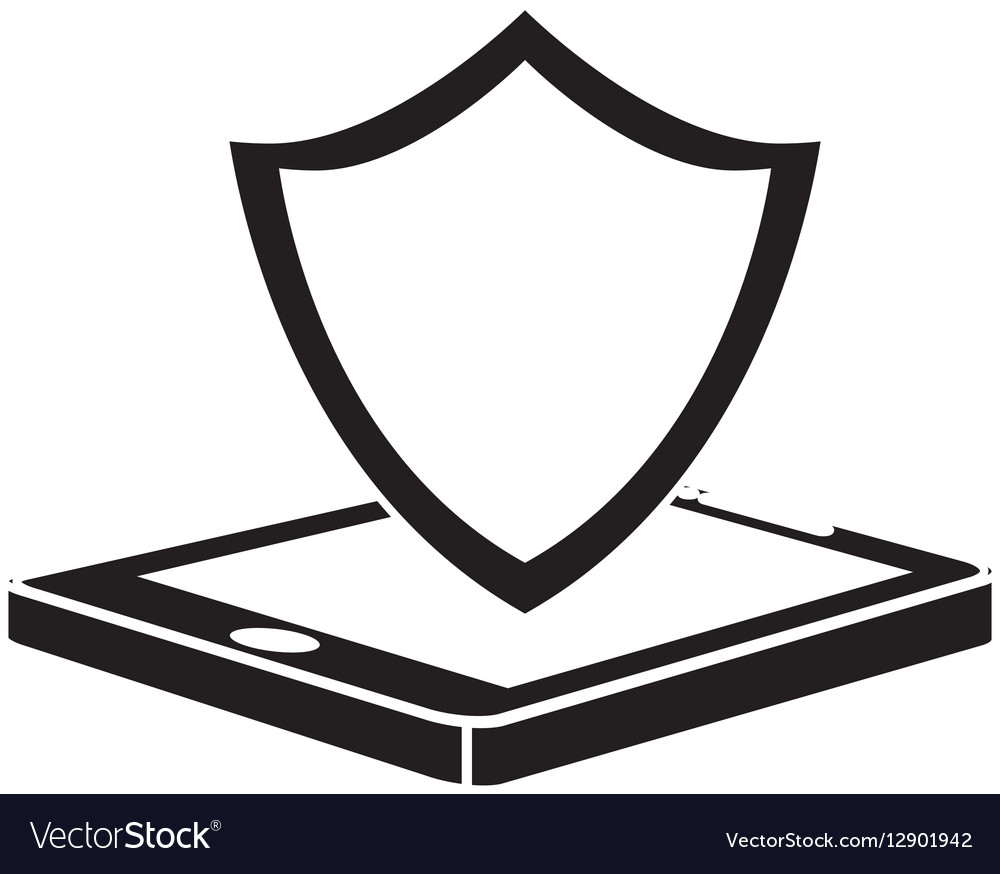 Black shield smartphone hosting icon vector image