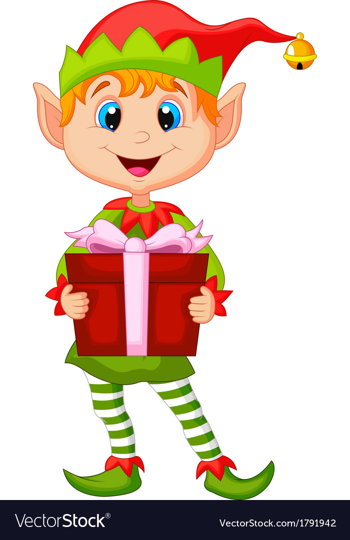 Cute christmas elf cartoon holding a gift