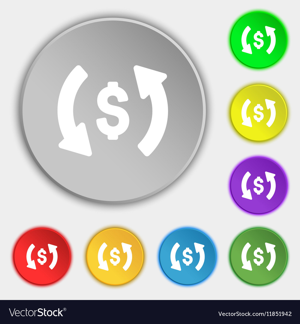 Exchange icon sign Symbol on eight flat buttons vector image