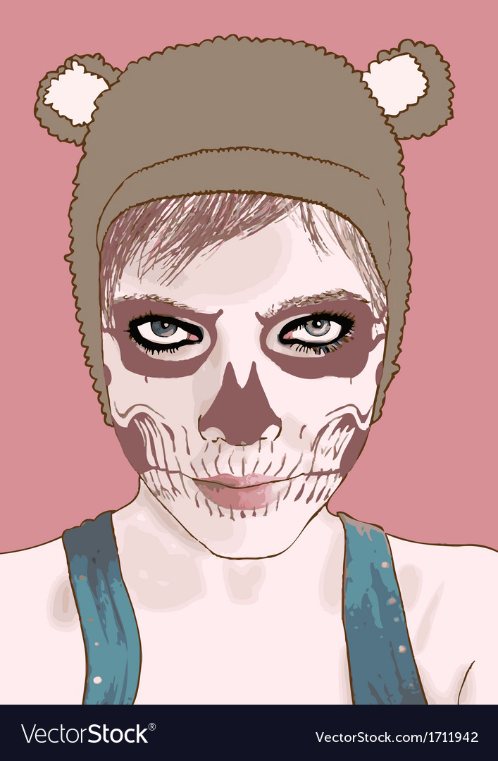 Halloween Make Up Cute Zombie Girl Royalty Free Vector Image-6410