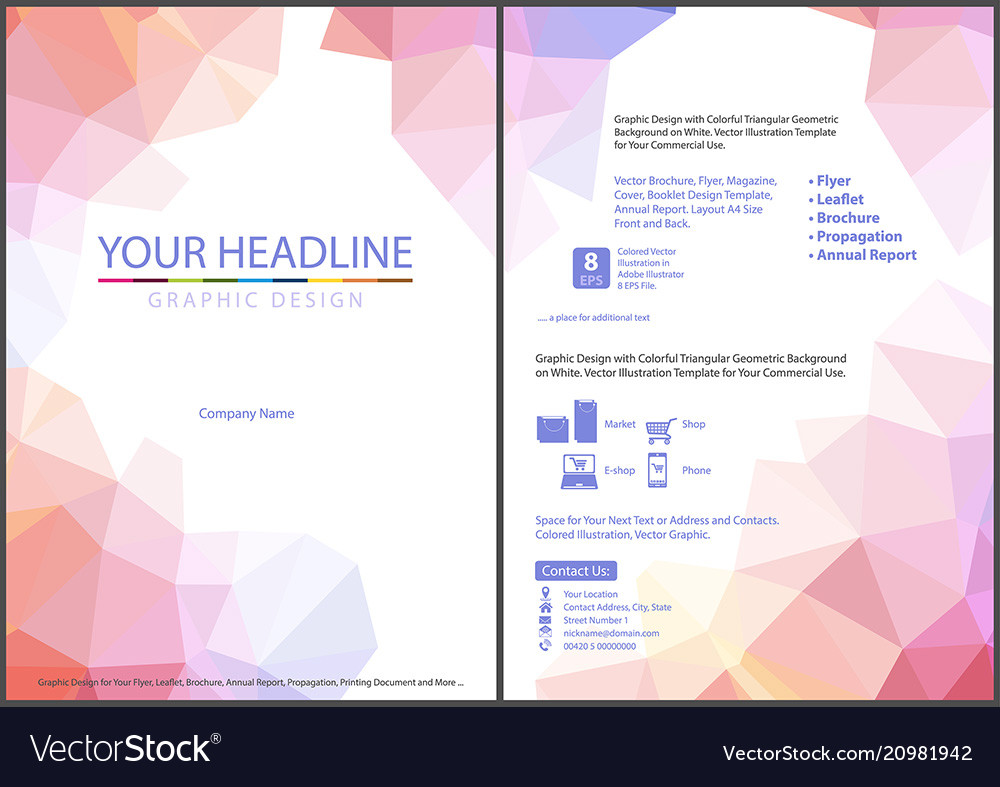 Leaflet template with triangular background
