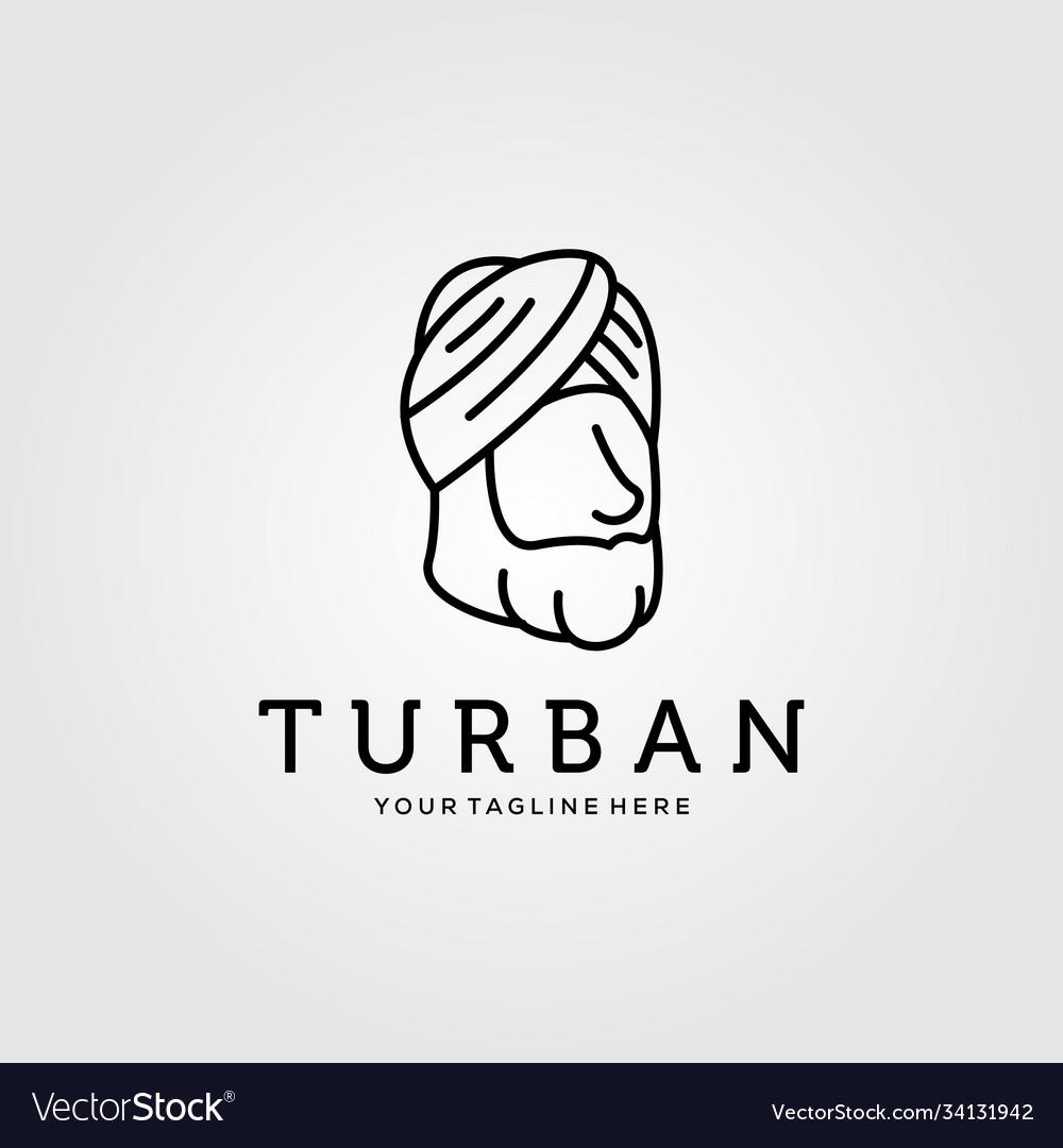 Line art turban minimalist logo design