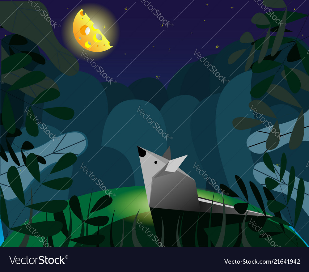 Mouse and imaginary cheese instead of the moon