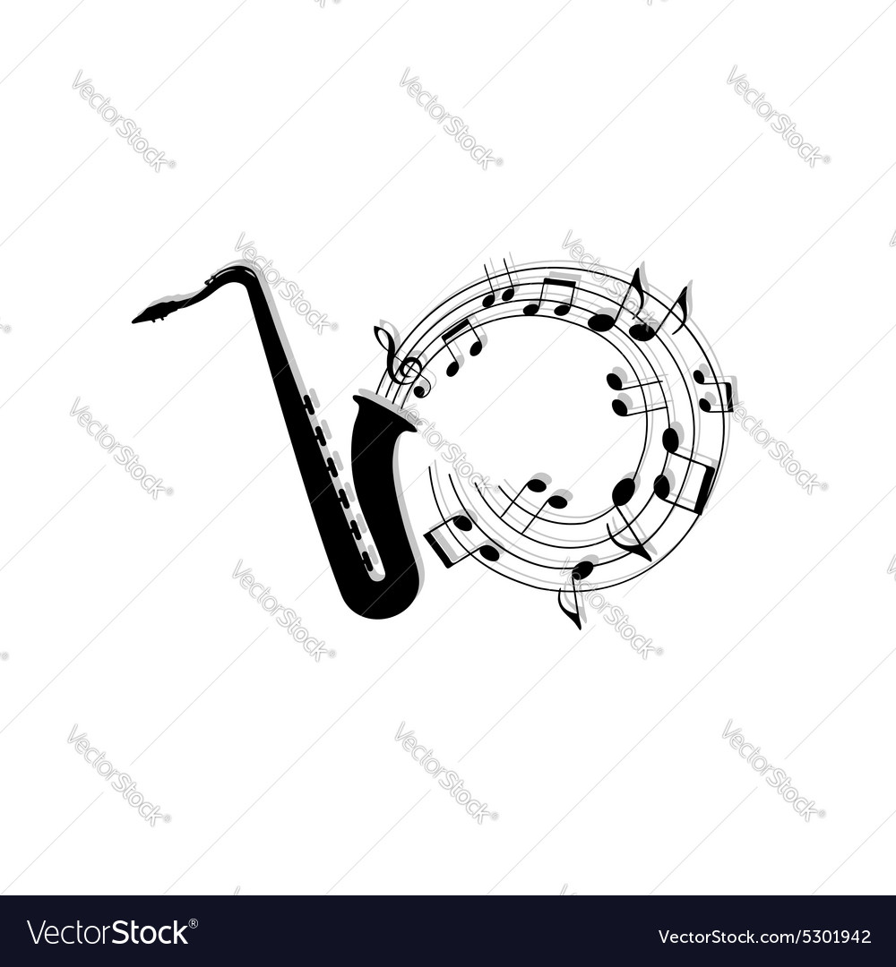 Musical notes background with saxophone