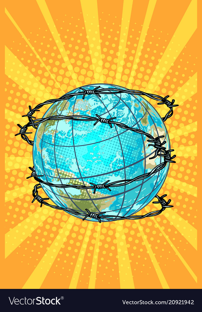 Planet earth barbed wire Royalty Free Vector Image