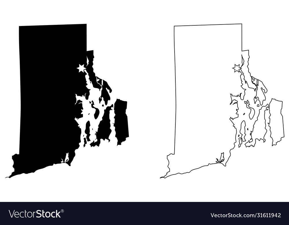 Rhode island ri state map usa with capital city