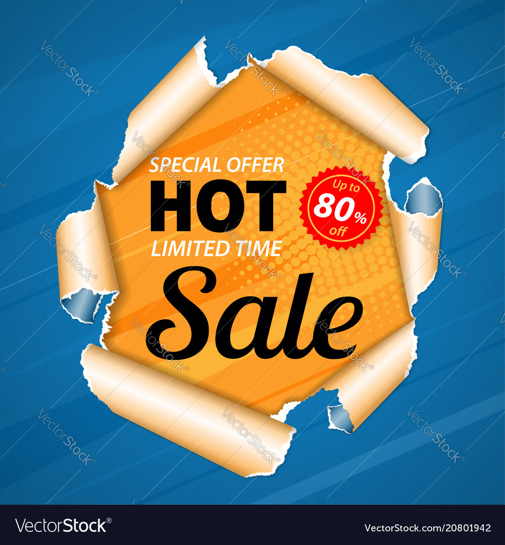 Sale banner on torn hole paper