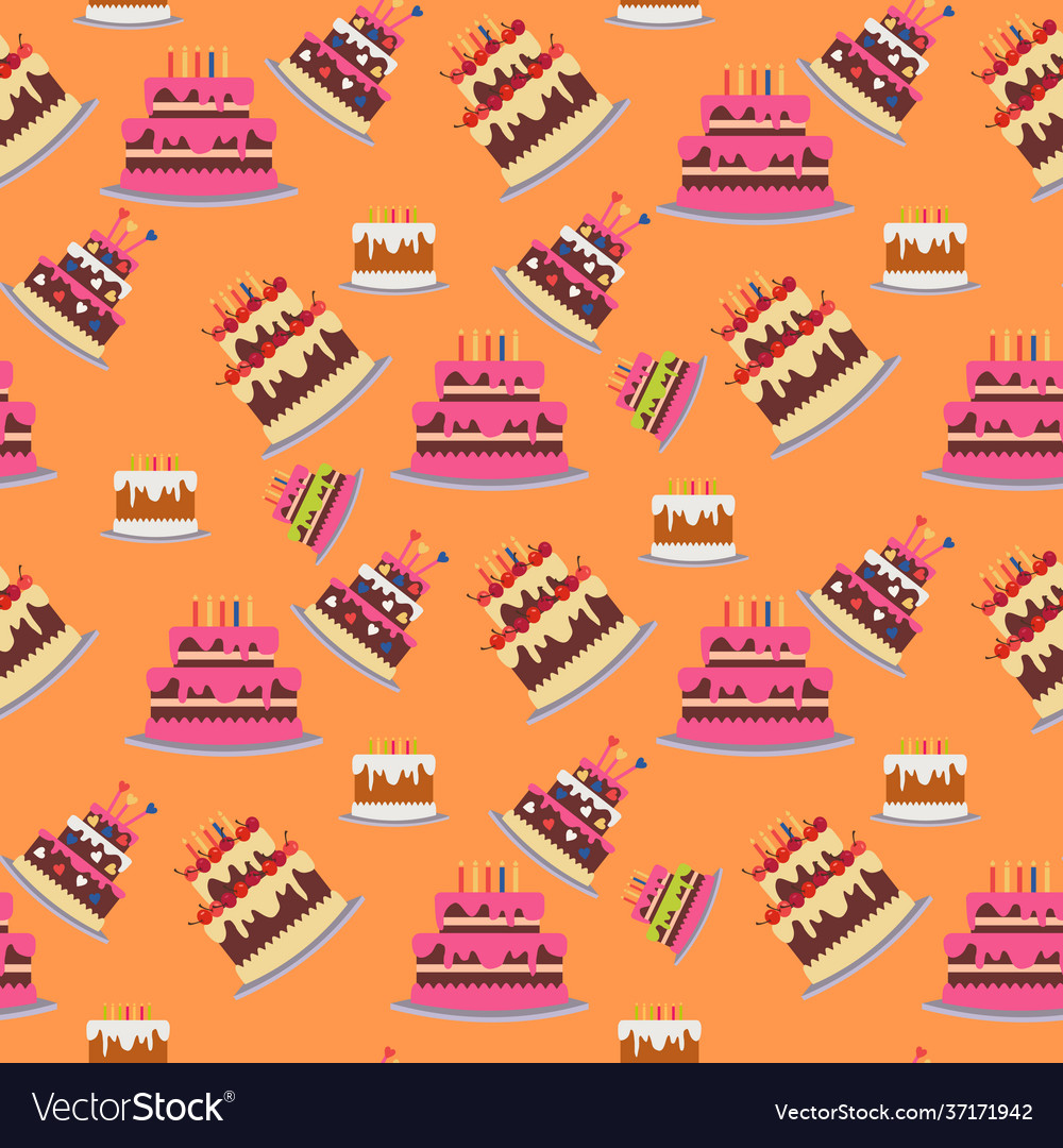 Seamless background with cakes birthday party