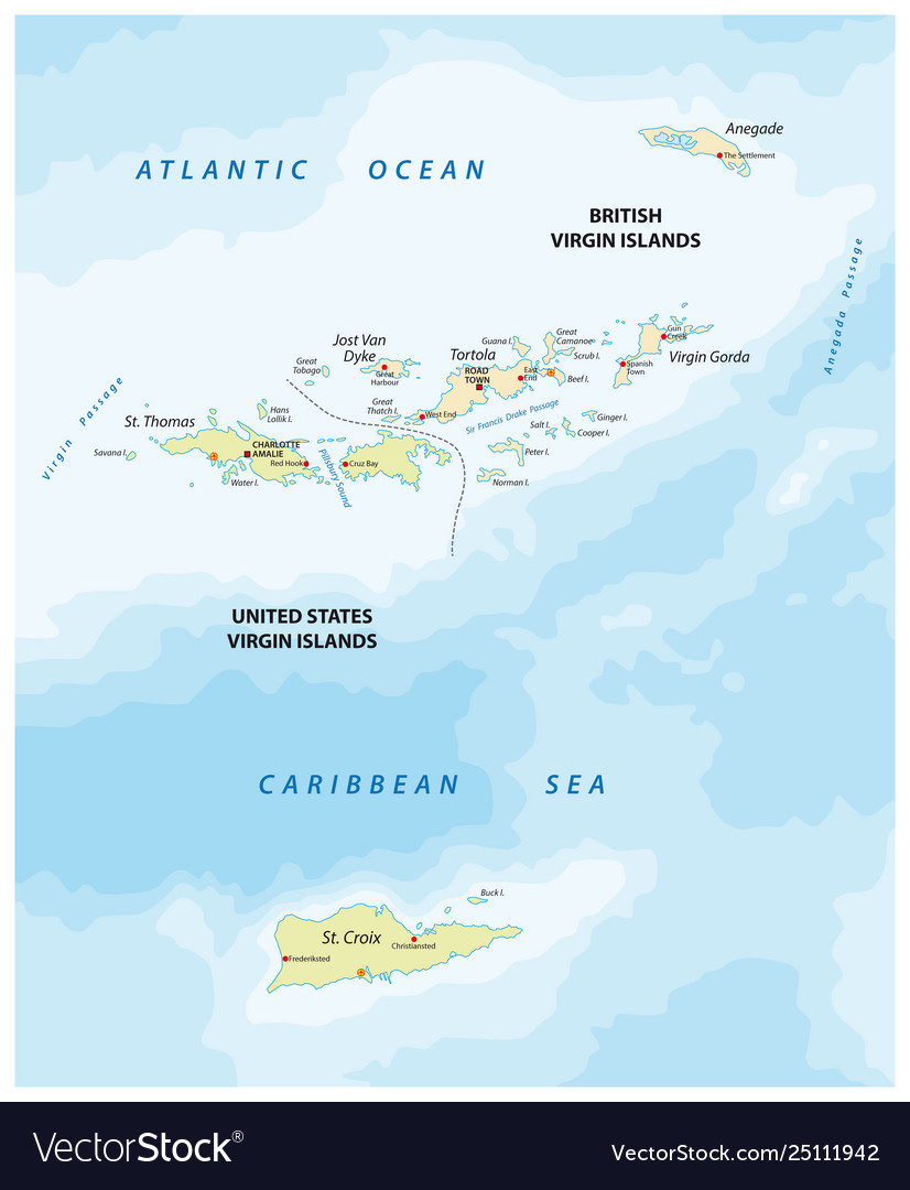 United states and british virgin islands map