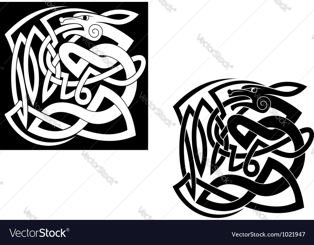 Abstract wild animal with ornamental elements