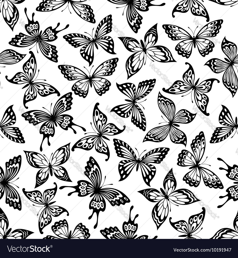 Black and white butterflies seamless pattern