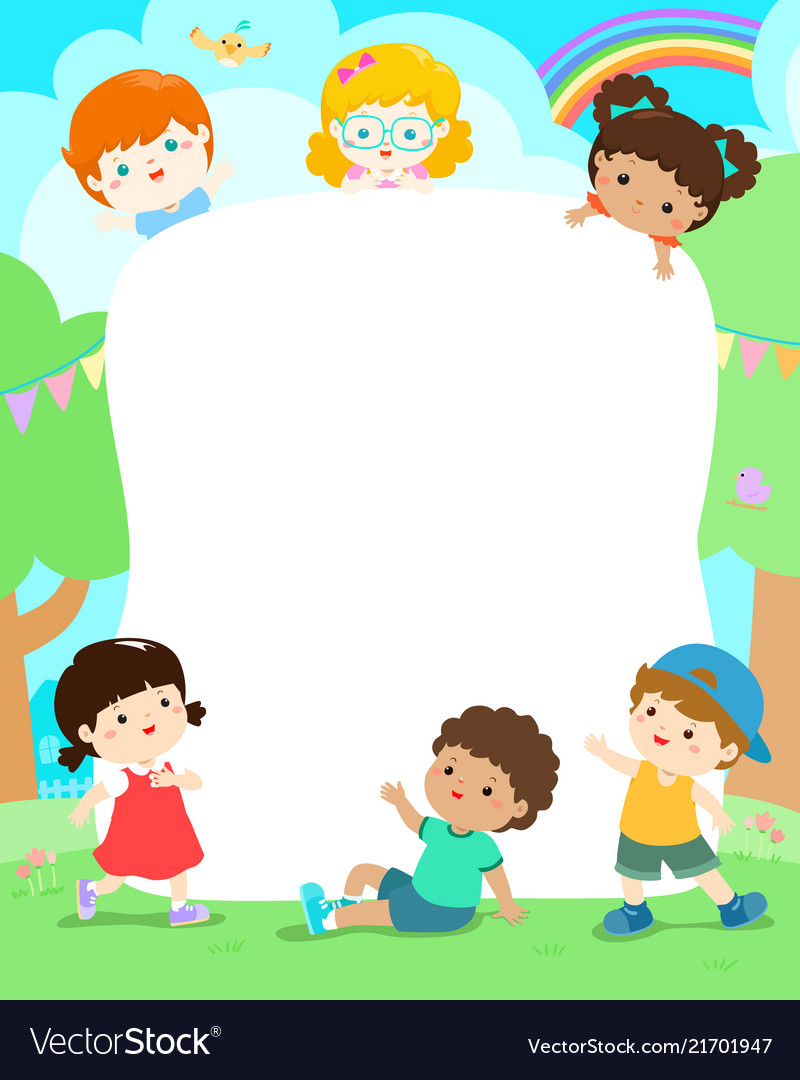 blank playground template happy kids poster design