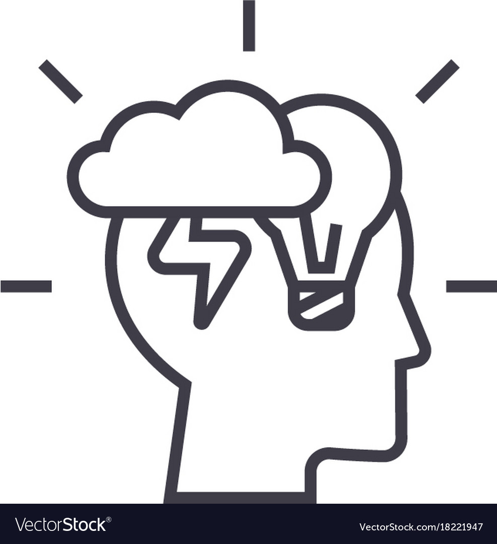 Brainstorm head linear icon sign symbol vector image