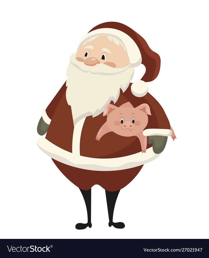 Cartoon santa claus with a piglet christmas