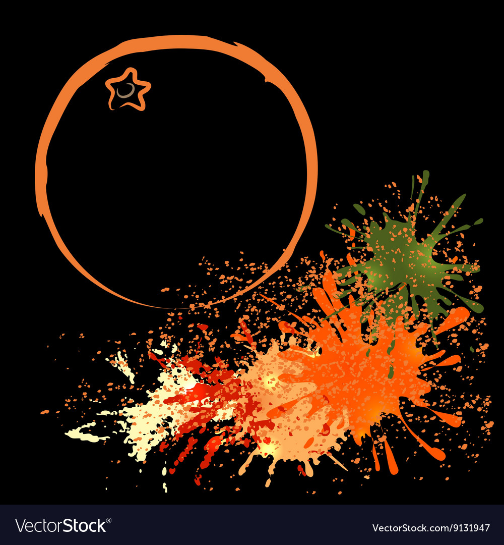 Colored outline of orange with blots vector image